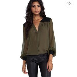 Haute Hippie Colorblock Silk Blouse Green Black